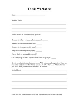 Thesis Statement Worksheet - Meet and Teach