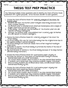 Thesis Statement Worksheet Packet & Printables