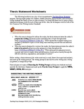 Thesis Statement Worksheets