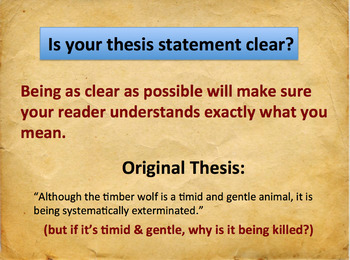 Thesis Statement Workshop - Powerpoint & Handouts