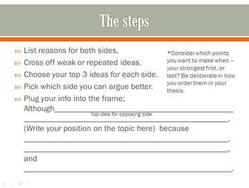 Thesis Statement Writing and Topic Sentence Writing for Argumentative Essays