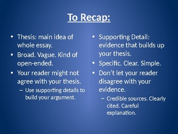 Thesis Statement or Supporting Detail