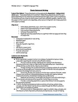 Thesis Statements Lesson Plan