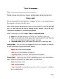 Thesis Statements: Notes and Practice Exercise