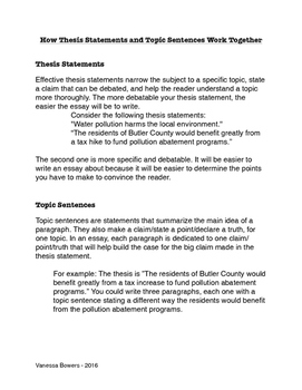 Thesis Statements & Topic Sentences