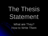 Thesis Statements - What Are They?  How To Write