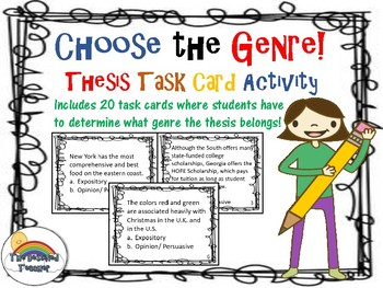 Choose the Genre! Genre Thesis Task Cards Activity Small Group Center