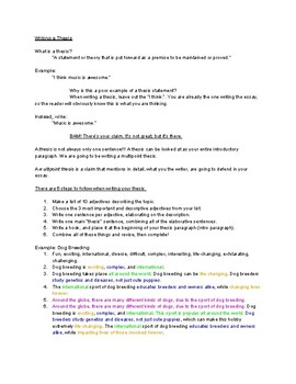 Thesis Writing Notes/Template