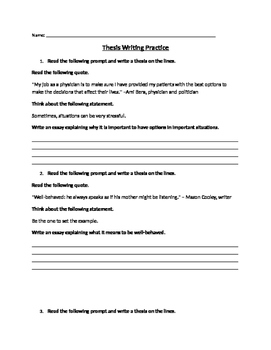 Thesis Writing Practice
