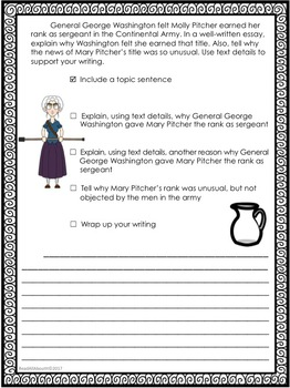 They Called Her Molly Pitcher--Writing Prompt-Journeys Grade 5-Lesson 13