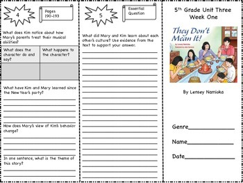 """""""They Don't Mean It"""" Trifold Activity McGraw Hill Reading Wonders 5th Grade"""