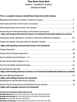 They Never Came Back Literature Guide Caroline B. Cooney Novel Unit Study CC