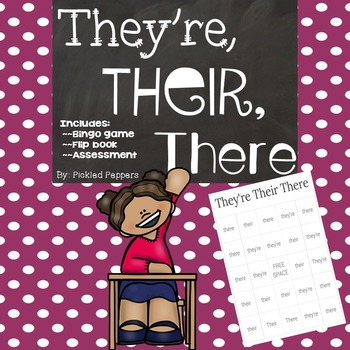 They're Their There Bingo, Flip Book, and Assessment Packet  {Homophones}