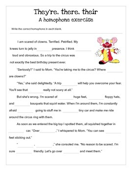 They're, their, there: A homophone exercise