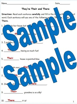 They're, Their and There Poster, Mini Lesson and Worksheets Common Core