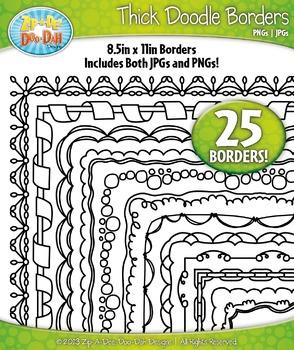 Thick Doodle Frame Borders Set 1 {Zip-A-Dee-Doo-Dah Designs}