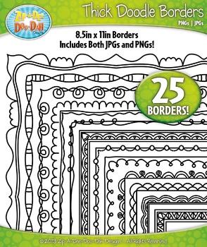 Thick Doodle Frame Borders Set 3 {Zip-A-Dee-Doo-Dah Designs}