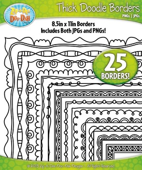 Thick Doodle Frame Borders Set 3  — Includes 25 Graphics!