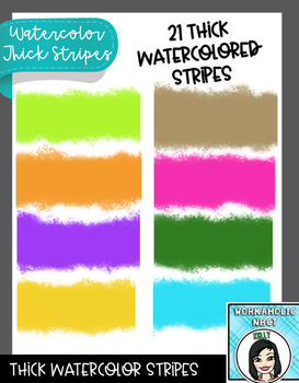 Thick Watercolor Striped Elements Clip Art Set