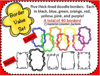 Thick-lined, Doodle Border Value Set - 40 borders (personal or commerical use)