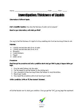 Thickness of Liquids: Exploring Viscosity