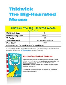 Thidwick the Big Hearted Moose Printable worksheet