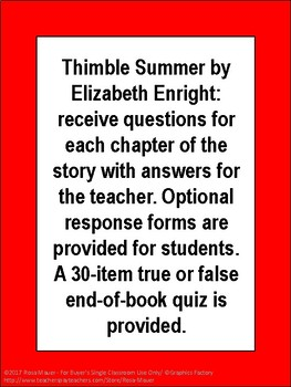 Thimble Summer Book Unit