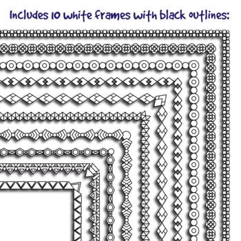Thin B&W Borders / Frames: Geometrical Patterns