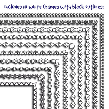 Thin B&W Borders: Geometrical Patterns