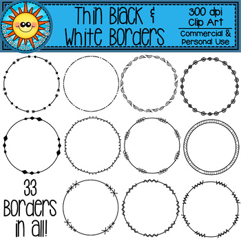 Thin Black and White Borders Clip Art (Rectangle, Square, and Circle)