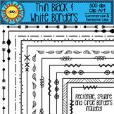 Thin Black and White Borders Clip Art (Rectangle, Square,