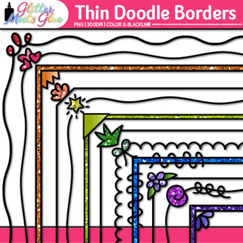 Thin Doodle Border Clip Art {Rainbow Glitter Frames for Worksheets & Resources}