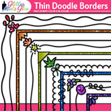 Thin Doodle Border Clip Art | Rainbow Glitter Frames for Worksheets & Resources