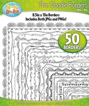 Thin Doodle Frame Borders Set 1 {Zip-A-Dee-Doo-Dah Designs}