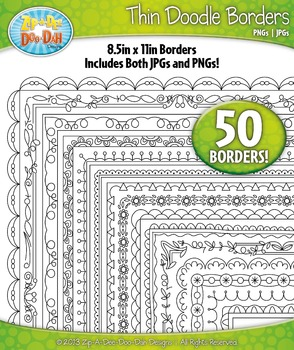 Thin Doodle Frame Borders Set 10  — Includes 50 Graphics!