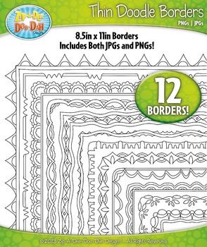 Thin Doodle Frame Borders Set 12 {Zip-A-Dee-Doo-Dah Designs}