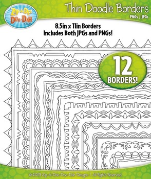 Thin Doodle Frame Borders Set 12  — Includes 12 Graphics!
