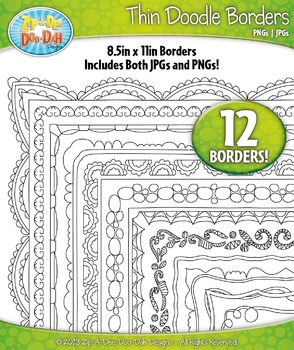 Thin Doodle Frame Borders Set 13 {Zip-A-Dee-Doo-Dah Designs}