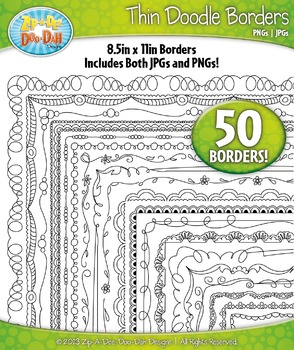 Thin Doodle Frame Borders Set 2 {Zip-A-Dee-Doo-Dah Designs}