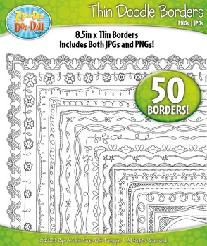 Thin Doodle Frame Borders Set 4  — Includes 50 Graphics!