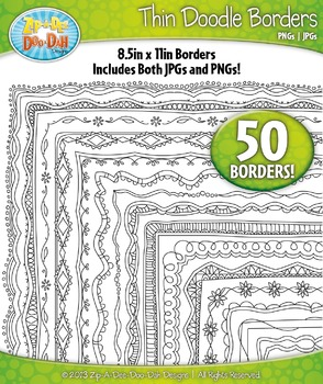 Thin Doodle Frame Borders Set 5  — Includes 50 Graphics!