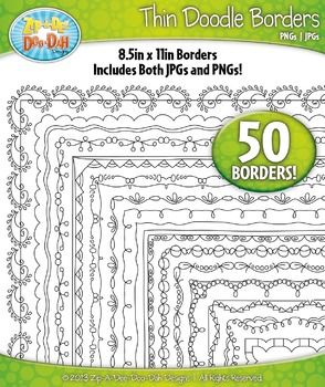 Thin Doodle Frame Borders Set 7  — Includes 50 Graphics!