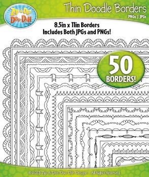 Thin Doodle Frame Borders Set 8 {Zip-A-Dee-Doo-Dah Designs}