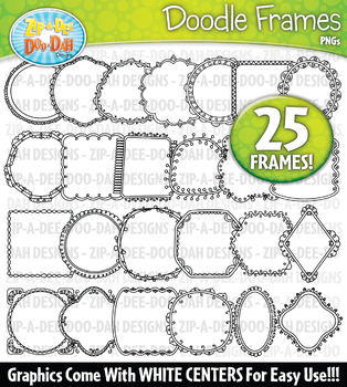 Thin Doodle Frames Clipart Set 1 — Includes 25 Graphics!