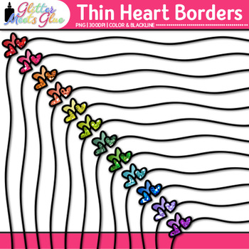 Thin Heart Border Clip Art {Rainbow Glitter Frame for Valentine's Day Resources}