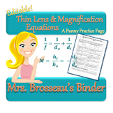 OPTICS: Thin Lens Equation and Magnification Equations: A Punny Practice Page