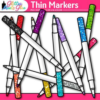 Thin Marker Clip Art {Rainbow Glitter Back to School Supplies for Teachers} 3