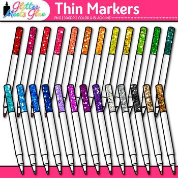 Thin Marker Clip Art | Rainbow Glitter Back to School Supplies for Teachers 3