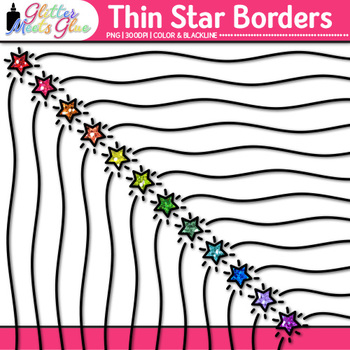Thin Star Border Clip Art | Rainbow Glitter Frames for Worksheets & Resources