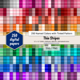 Thin Stripes Digital Paper - 250 Colors Tinted